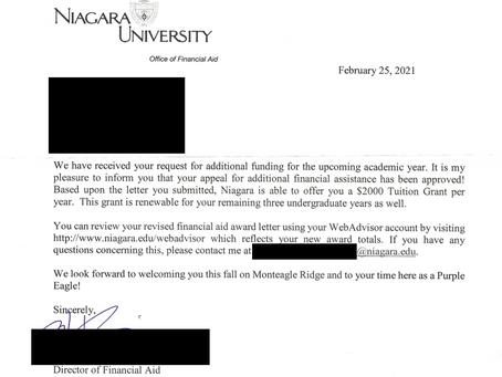 Case Study - Appeal Awards Extra $2k Per Semester for Niagara University Student