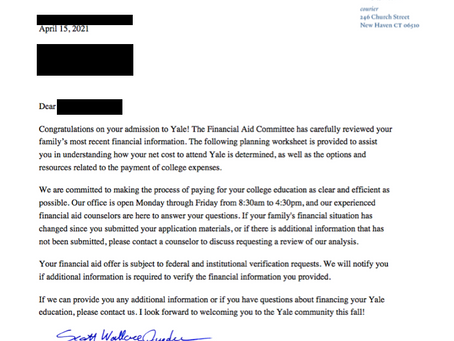 College Planning Case Study - Yale Awards $47K Scholarship Gift to Local Student