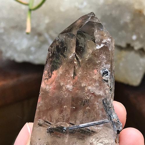"3"" // 0.21lb rutile in smoky quartz"