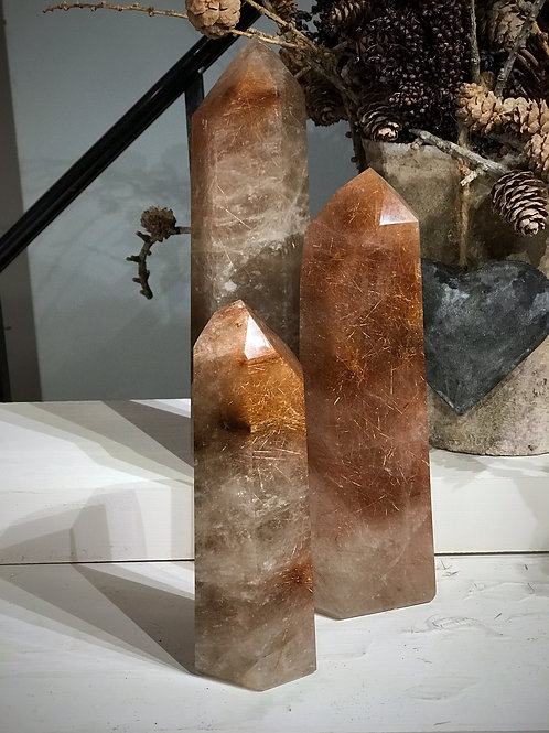 """9"""" gold and copper rutile"""