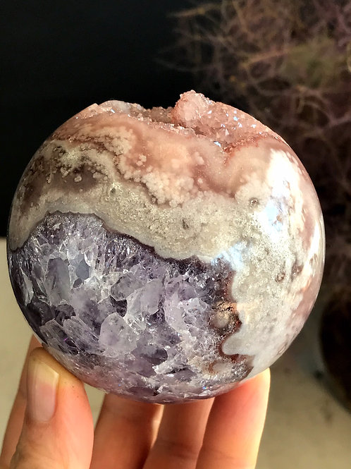 1.36lb rare purple and pink amethyst sphere