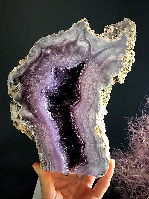 7.03 lb  pink violet amethyst geode