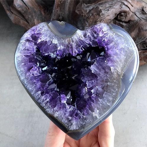 "5"" amethyst druzy heart"
