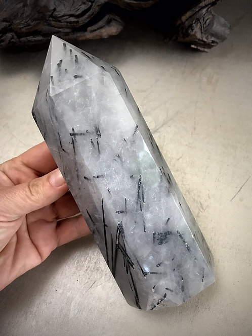 "7"" black tourmaline in quartz"