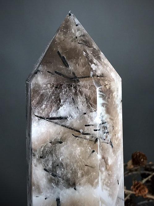 "18.5"" black tourmaline in smoky quartz"
