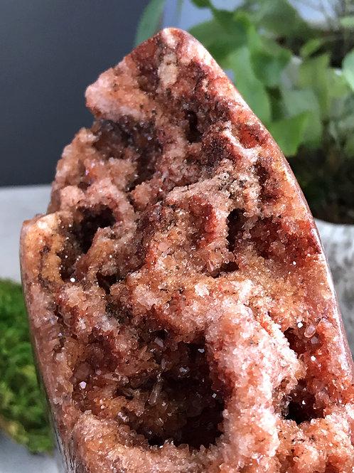 7.07lb pink amethyst and quartz geode