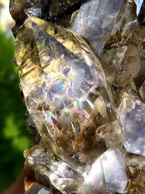 0.53lb transparent quartz cluster with epidote