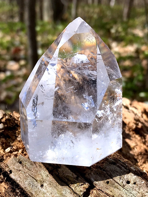 0.34 lb quartz point with fairy frost and mirrored fractures