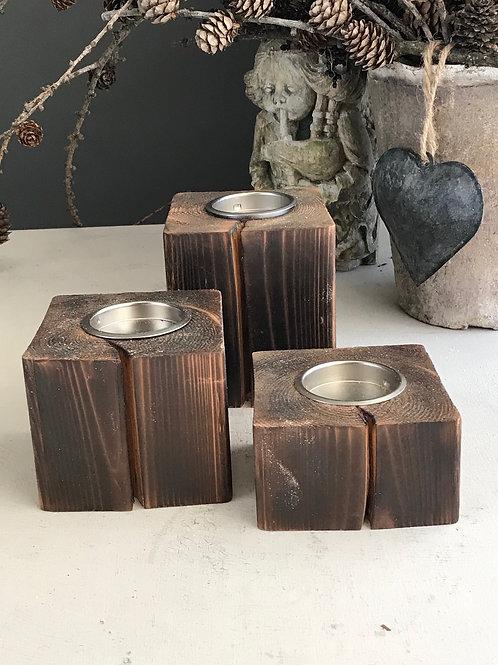 reclaimed wood display set of 3