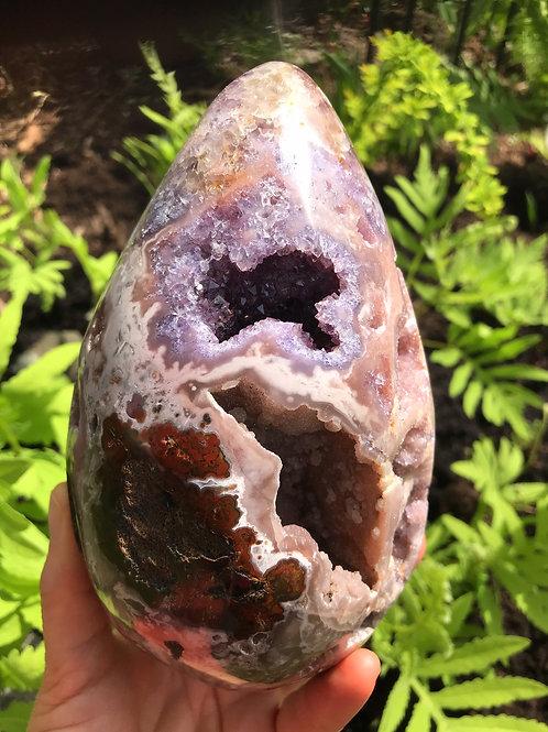 3.55 lb pink amethyst geode egg