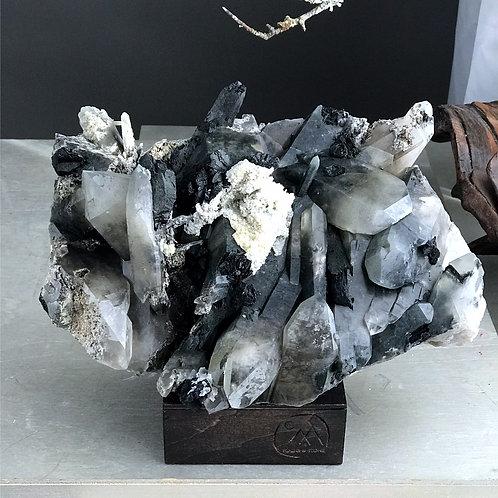 black tourmaline in quartz cluster