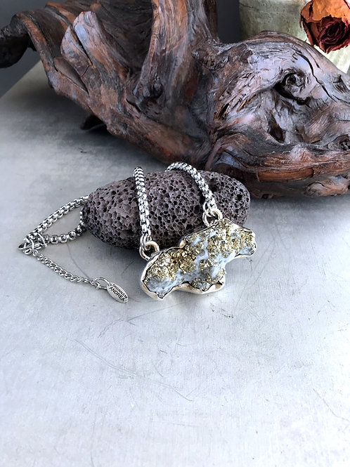 sterling silver pyrite pendant necklace