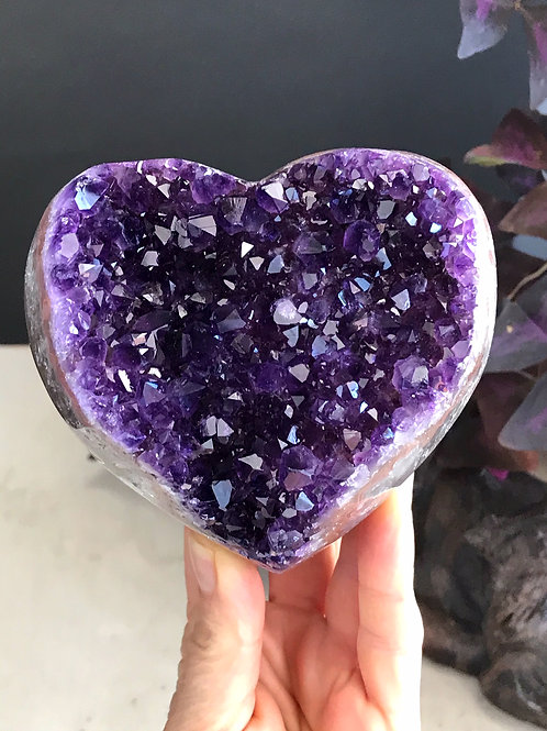 2.05 lb AAA amethyst geode druzy heart