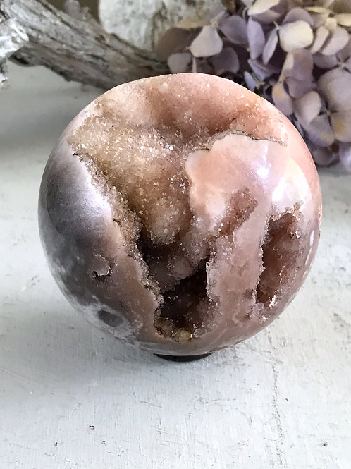 rare smoky pink amethyst orb