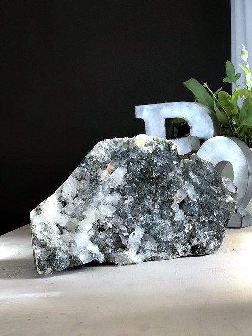 9.36 lb blue chalcedony druzy geode with apophyllite