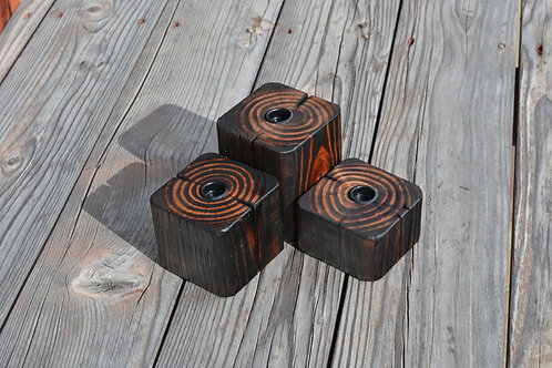 reclaimed wood display set of 3
