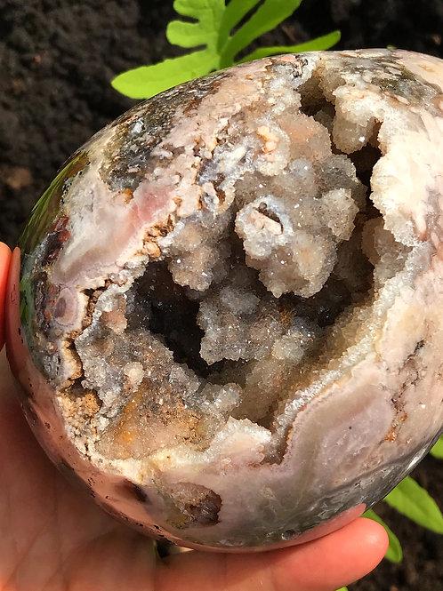 3.69 lb pink amethyst geode egg