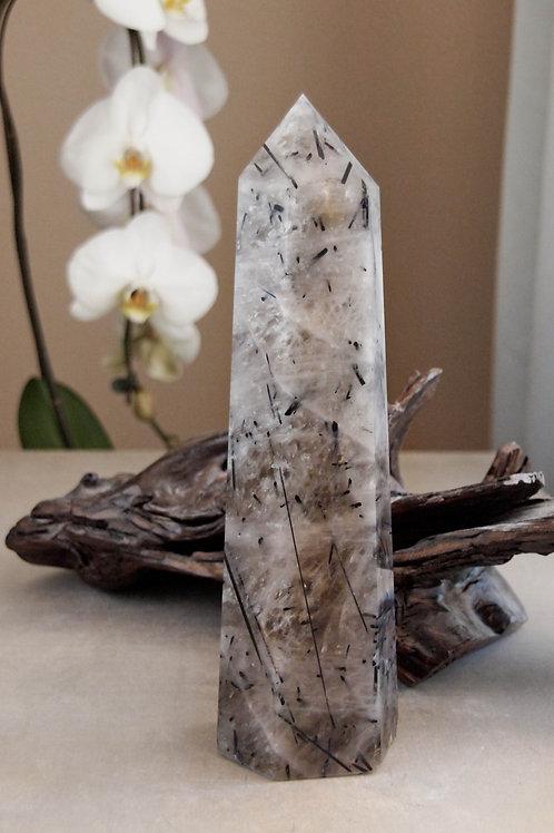 "11.5"" black tourmaline in smoky quartz"
