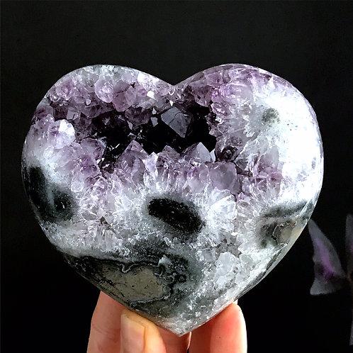 1.71lb stalactite amethyst geode druzy heart