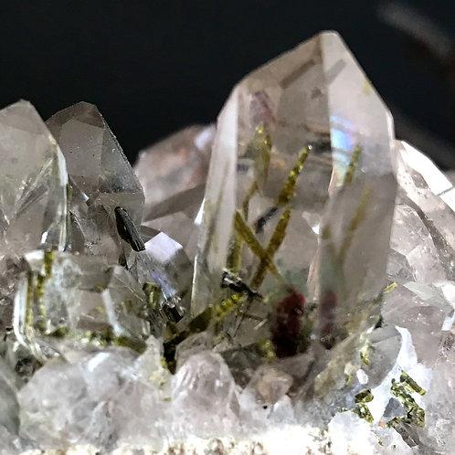 0.59lb transparent quartz cluster with epidote