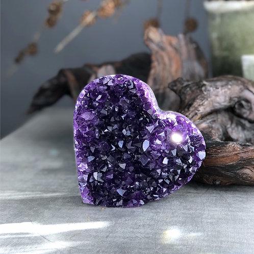 1.7lb amethyst druzy heart
