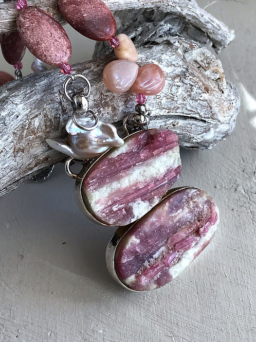 pink tourmaline and pearl necklace