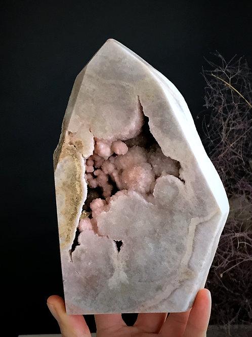 2.51lb pink amethyst druzy geode