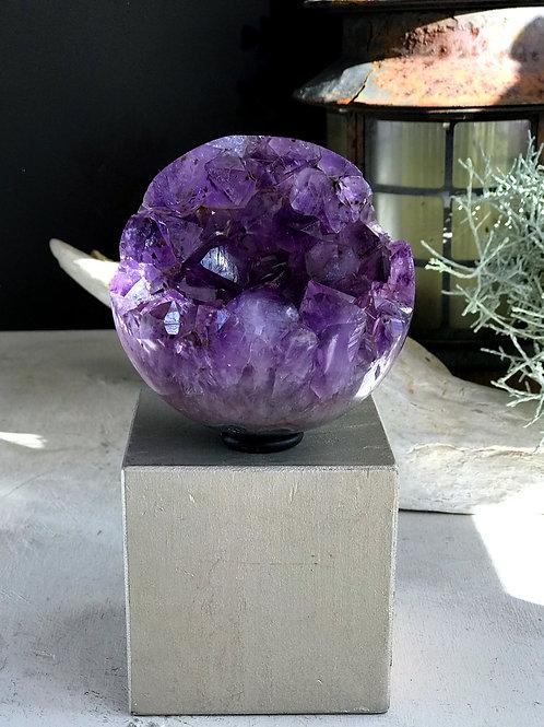 2.04lb amethyst geode sphere