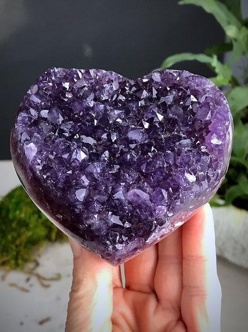 1.11 lb AAA amethyst geode druzy heart