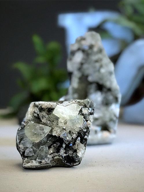 0.82lb black chalcedony druzy geode