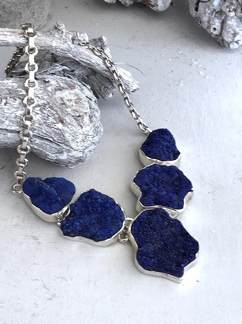 rare azurite druzy necklace