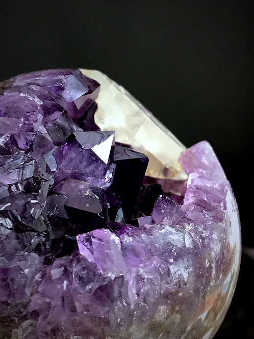 1.11lb purple amethyst sphere with calcite