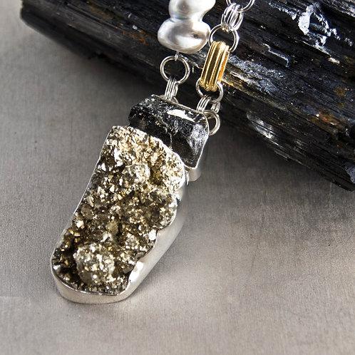tourmaline & pyrite pendant necklace