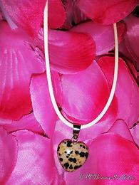 Dalmatian Jasper Sacred Heart Necklace