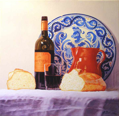 Pan y Vino with Old Spanish Plate
