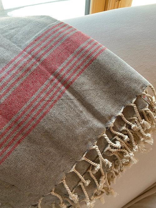 Turkish towel. Grey/Red Stripe