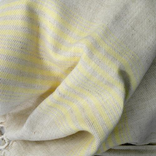 Pestemal Towel, Natural/Yellow Stripe
