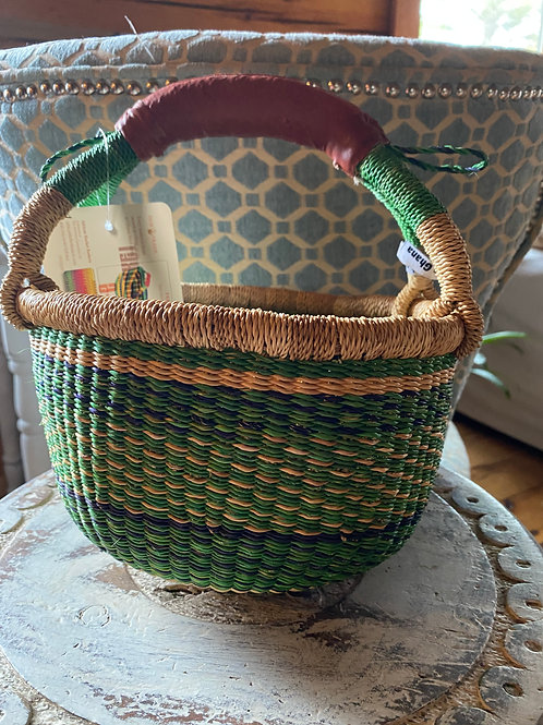 Ghana woven grass large mini round basket