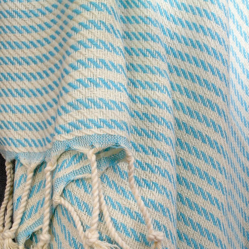 Pestemal Towel Aqua and off-white Stripe