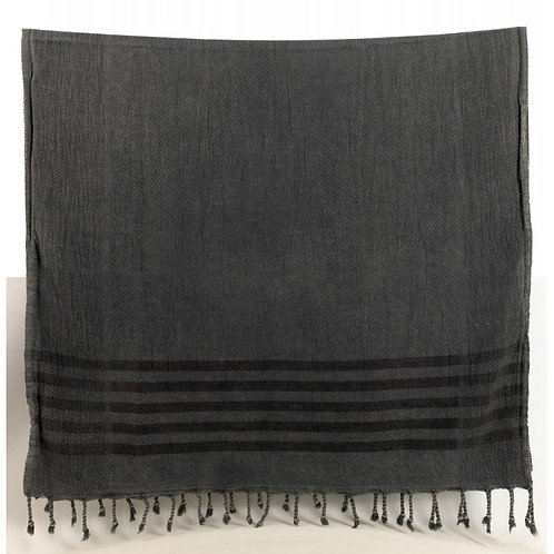 Pestemal Towel, Stone Washed  Charcoal with stripe