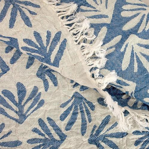 Petemal Towel Muslin, blue and white leaf
