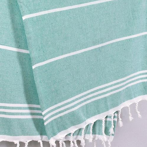 Pestemal Hand Towel Aqua and white stripe