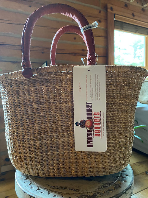 Ghana woven grass natural color oval basket
