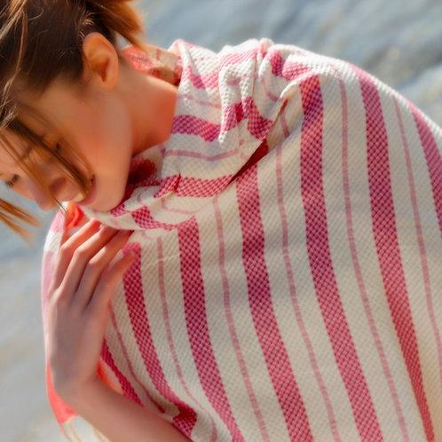 Pestemal Towel Pink & off-white Stripe