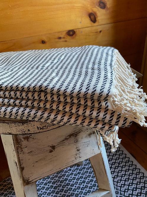 Pestamal Towel Black and White Stripe