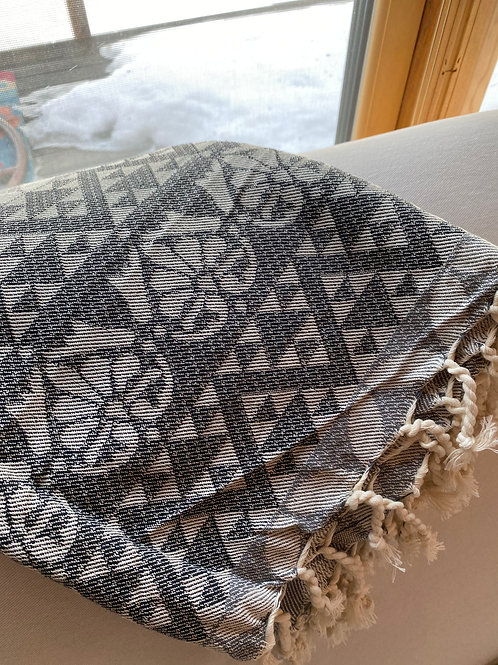 Boho Turkish towel Black/White