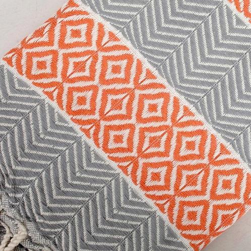 Petemal Towels Grey and white/ orange diamonds