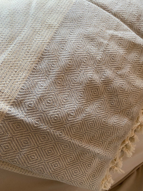 Large Turkish blanket Natrual/Grey