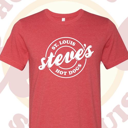 Steve's Hot Dogs Logo Tee in Red