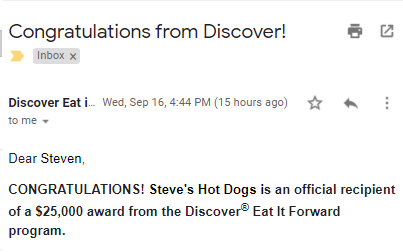 Steve's Hot Dogs is Awarded $25,000 By Discover's #EatItForward Program for Black-Owned Restaurants